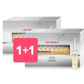 1+1 Crescina Link Beta 4 Transdermic Ricrescita Isole Follicolari 2100 Donna 40 fiale - Promozione